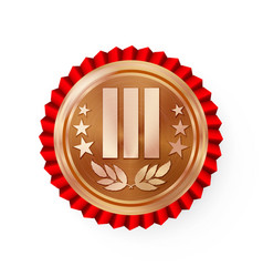 bronze 3st place rosette badge medal vector image
