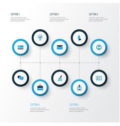 Business colorful icons set collection of manager vector