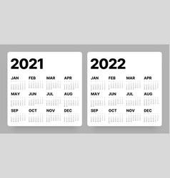 Calendar for 2021 and 2022 year week starts vector