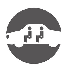 Car with passengers silhouette icon vector
