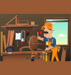carpenter working making a chair vector image
