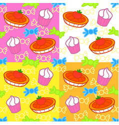 Cartoon sweets seamless pattern vector