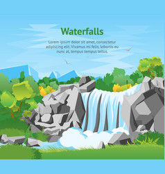 Cartoon waterfall landscape background card poster vector