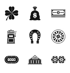 Casino game icons set simple style vector