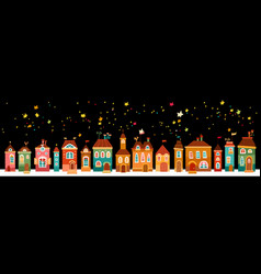 Christmas landscape night with the houses vector