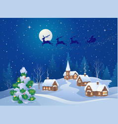 Christmas night scene vector