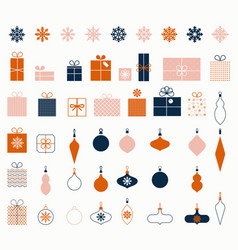 christmas snowflakes new year gifts decorative vector image