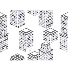 cityscape seamless pattern isometric city vector image