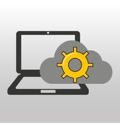 Cloud computer connected gear work vector