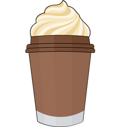 coffee with whipped cream coffee in a cup without vector image