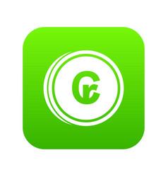 Coins cruzeiro icon digital green vector