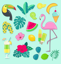Collection summer party icons vector