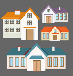 colorful flat houses collection vector image vector image