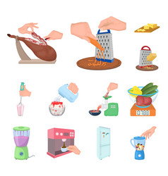 cooking food cartoon icons in set collection for vector image