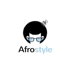 creative afro hair geek style comb logo vector image