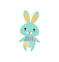 Cute light blue bunny soft plush toy stuffed vector