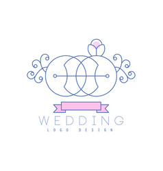 Cute line logo design abstract floral ornament vector