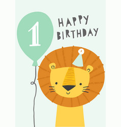 cute lion first birthday greeting card or party vector image