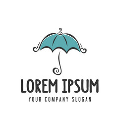 Cute sweet umbrella logo hand drawn style design vector