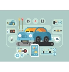 Diagnostics of machines in service station vector image