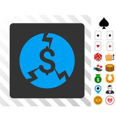 Financial crash blue icon with bonus vector