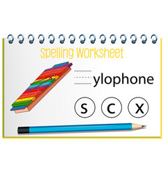 find missing letter with xylophone vector image