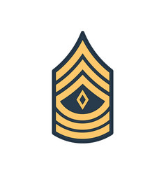 First sergeant 1sg soldier military rank insignia vector