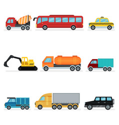 flat set of various urban transport motor vector image