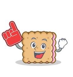 Foam finger biscuit cartoon character style vector