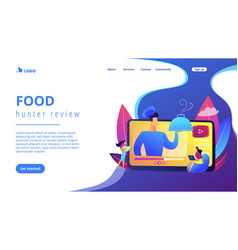 Food blogging concept landing page vector