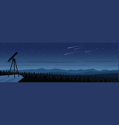 Forest at night and space observation landscape vector
