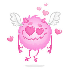 funny round monster in love st valentines day vector image