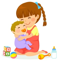 Girl and baby vector