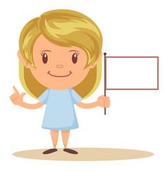 girl holding blank flag vector image