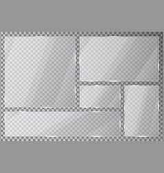 Glass plate set on transparent background acrylic vector
