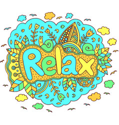 graphic art with mandala and relax word doodle vector image