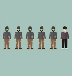 Group of homeless men and rich man character vector