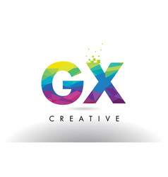 gx g x colorful letter origami triangles design vector image