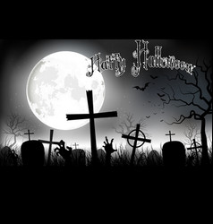 Halloween background night with in graveyard vector