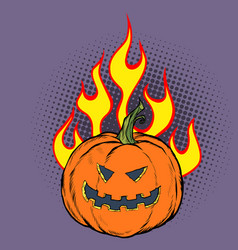 halloween pumpkin in flames hell vector image