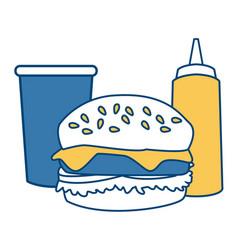 Hamburger with soda and sauce vector