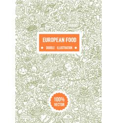 hand drawn of european food vector image