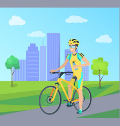 happy sportsman with blue bottle on yellow bike vector image
