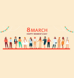 horizontal female flat banner with text 8 march vector image