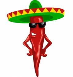 hot Mexican chili green sombrero vector image vector image