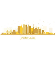 Indonesia cities skyline silhouette with golden vector