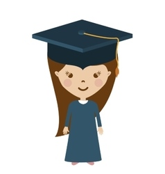 Isolated girl with graduation cap design vector image