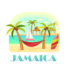 Jamaica beach and ocean coastline with palms vector