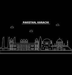 karachi silhouette skyline pakistan - karachi vector image