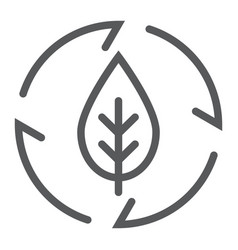 leaf in arrows line icon ecology and energy vector image